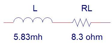 مدل الکتریکی در نظر گرفته شده برای شیر الکتروهیدرولیکی